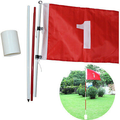 Backyard Practice Golf Hole Pole Cup Flag Stick 3 Section Putting Flagstick NEW