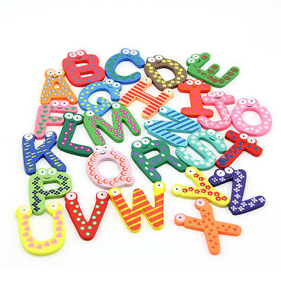Wooden alphabet refrigerator magnet Kids Early Learning A-Z Letters Kitchen tool