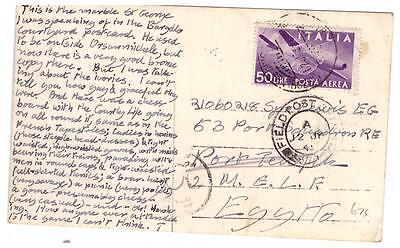 shop105 Italy 1945 Postcard with 50L Air to Egypt