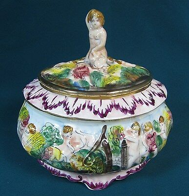 "Large Capodimonte Covered Bowl with Female Nude Finial - 7 1/2"" Wide"