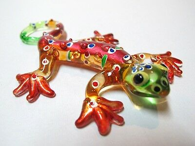 Lampwork COLLECTIBLE MINIATURE HAND BLOWN Art GLASS Red Gecko FIGURINE Animal
