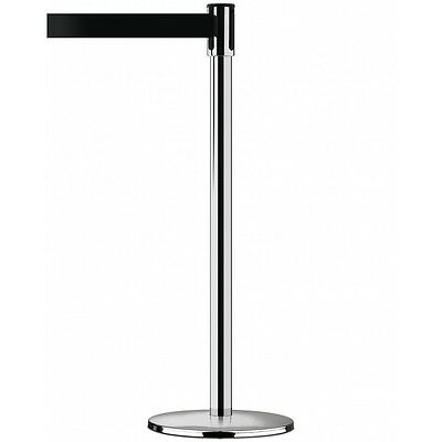 TensaBarrier 890 Slimline Retractable Belt Post - Polished Chrome, Black Belt