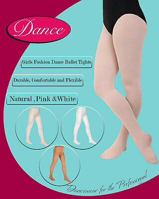 Girls Ballet Tights Dancing Ages 3-14 White Pink Cream