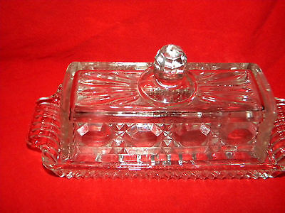 Vintage Clear Pressed Glass Butter Dish* CUT GLASS