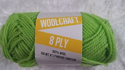 Woolcraft 8 Ply Knitting Yarn #1013 Lime Green 50g Machine Washable Wool