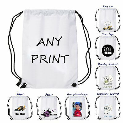 Personalised PHOTO Drawstring Bag in WHITE COLOUR Any Image Design School Gym