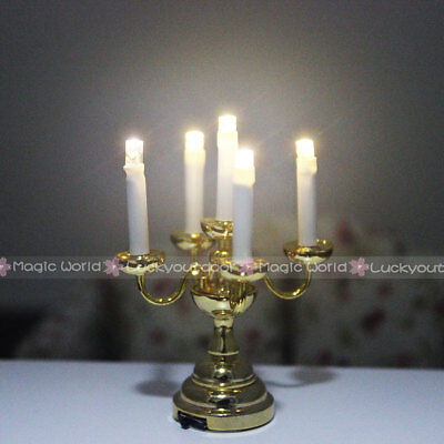 Desk Table Lamp Candle Light with Holder Switch Battery Dollhouse Miniature 1:12