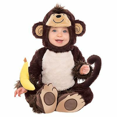 Cute Baby Monkey Jungle George Fur Costume All in One Toddler Outfit Fancy Dress