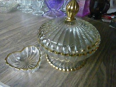 3pc~ Ribbed Cut-Glass Crystal Bowl,w/Lid & Matching Heart~Candy, Serving 6-1/2""