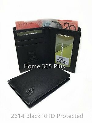 Franco Bonini Men's Genuine Leather RFID Blocking Slim Cardholder Mini Wallet