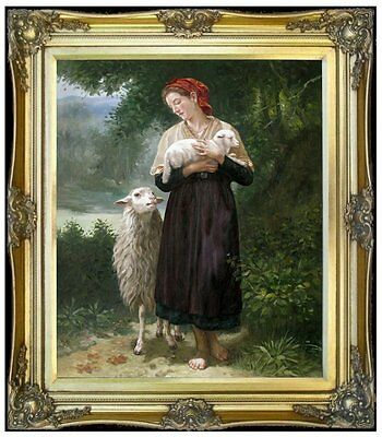 Framed Hand Painted Oil Painting Repro Bouguereau the Shepherdess 20x24in