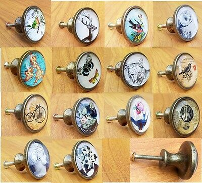 Vintage Style Glass & Metal Knobs Door Drawer Cabinet Handles Pull Knob Brass