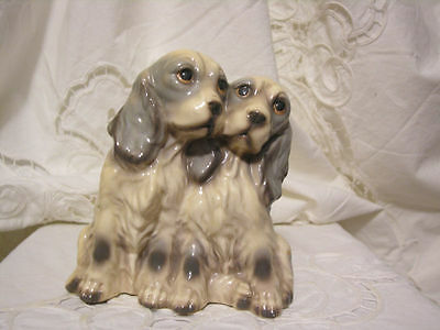 English Cocker Spaniel Dog Figurines 1 Piece with 2 Dogs Vintage Collectible