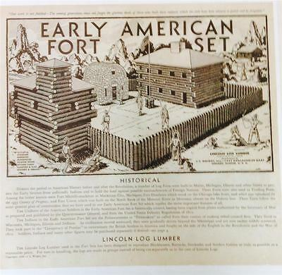 Lincoln Log Lumber Building Instructions Guide Copy Vtg 1939 Early American Fort
