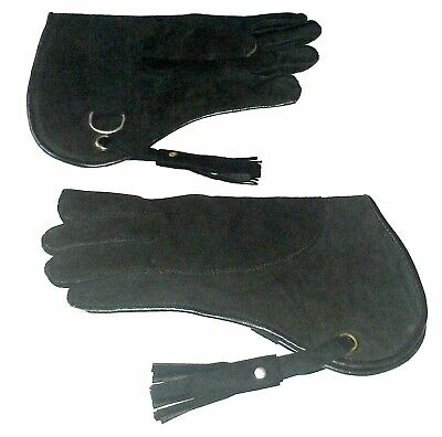 New Falconry Glove Suede Leather Double Layer 12 Inches Long Standard Size Black