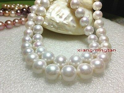 """LONG AAAAA 35""""12-13mm round REAL south sea WHITE pearl necklace 14K gold"""