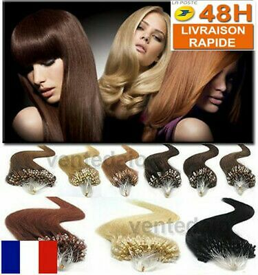 50 100 150 200 Extensions 100% Cheveux Naturels Remy Pose A Froid Easy Loop 53Cm