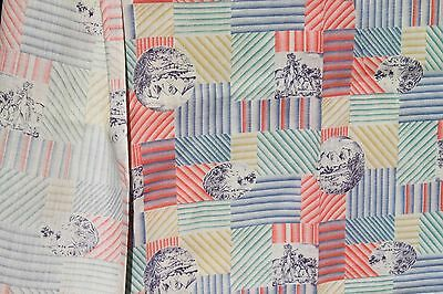 VTG Colorful Striped Nature Scenic Print Fabric 60s 70s Sewing Material Vintage