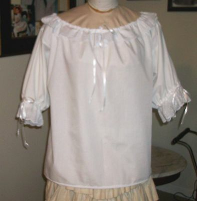 CIVIL WAR DRESS BLOUSE~COLONIAL LADY'S WHITE 100% COTTON EYELET TRIMMED ONE SIZE