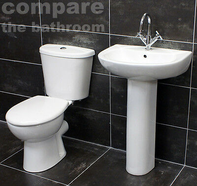 Sara Basin and Toilet Set Cloakroom Suite Soft Close Seat & Tap Option