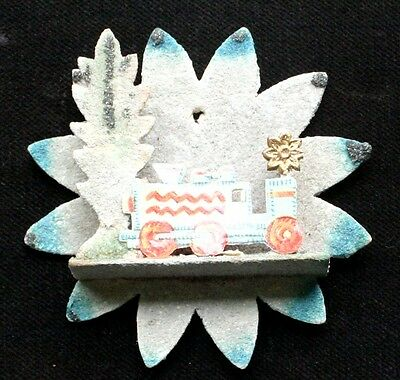 Vintage paper cardboard Christmas Ornament, Flower with a locomotive