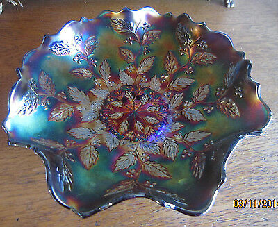 """Antique Fenton 9"""" BLUE  """"HOLLY""""  Carnival Glass Bowl with Ruffled Edge Beauty!"""