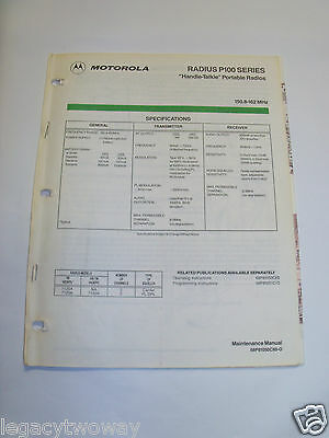 Motorola Radius P100 Series Handie Talkie Portables Maintenance Manual