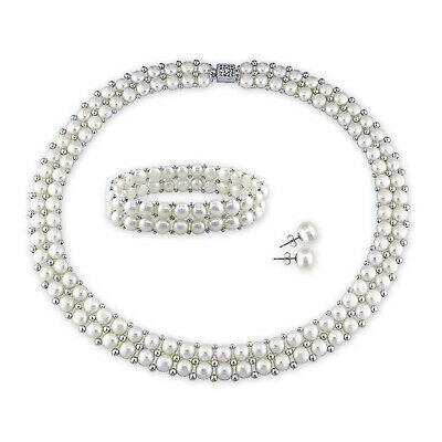 Amour Cultured Freshwater Pearl and Silver Bead Jewelry Set