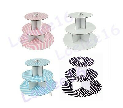 3 Tier Cup Cake Stand Holder Cardboard Display Wedding Baby Shower Party Tower