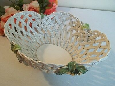 Vtg ceramic woven wicker style basket bowl with applied flowers made in Italy