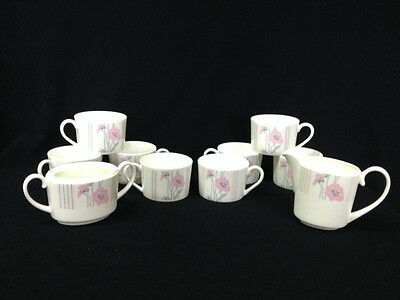 "Rare Coalport Bone China ""Candy"" Pattern  8 Cups  Creamer & Sugar Bowl"