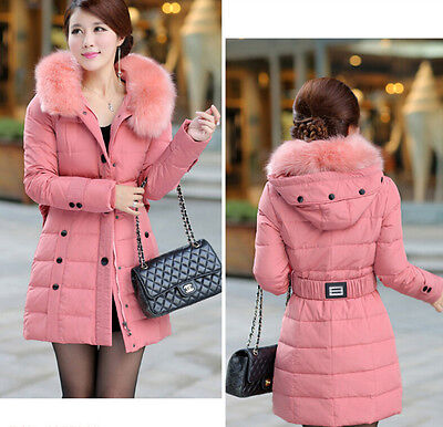 4 Colors New Womens Faux Fur Hoodie Belt Zip Slim Cotton Jacket Hip Length Coat
