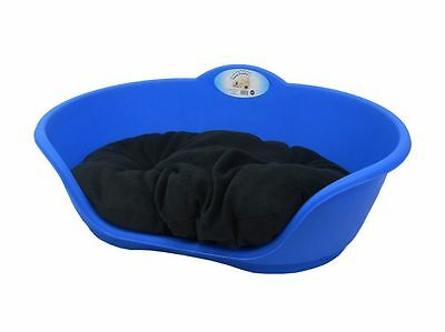 Heavy Duty ROYAL BLUE Pet Bed With BLACK Cushion UK MADE Dog Or Cat Basket