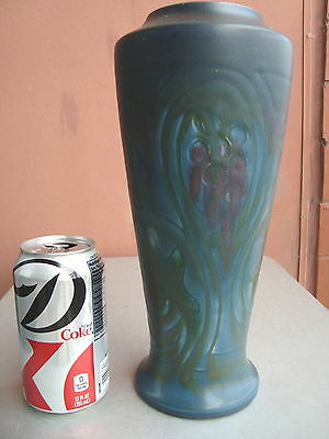 "Rookwood Carved Matte Dark 11"" Stylized Grape Vase 1920 Lincoln"