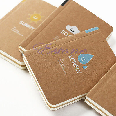 Retro Mood Series Kraft Paper Blank Pages Mini Notebook Diary Notepad Pocket