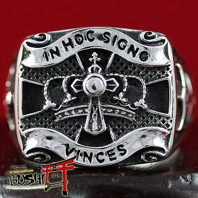 """925 Sterling Silver Antique Knights Templar Masonic Ring """"In Hoc Signo Vinces"""""""