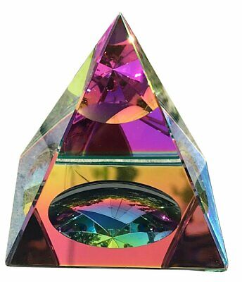 "Crystal Iridescent Pyramid - Rainbow Colors 3.5"" with Gift Box"