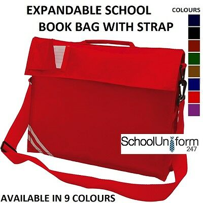 Boys Girls Childrens Kids Expandable Classic School Book Bag + Strap - 9 Colours