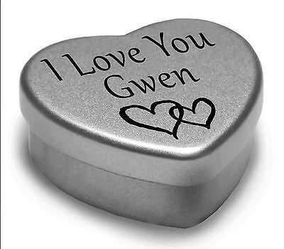 I Love You Gwen Mini Heart Tin Gift For I Heart Gwen With Chocolates