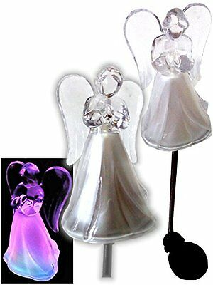 2X Solar Powered Angel w/ Frosted Skirt Garden Stake Color Change LED Light