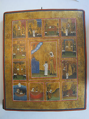 Antique Russian Orthodox Hand Painted on Silver leaf  Icon  19 th. century
