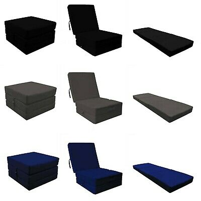 Cotton Fold Out Adult Cube Guest Z Bed Chair Stool Single Futon Chairbed Pouffe