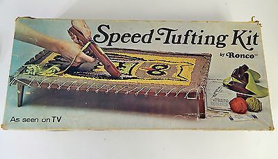 Vintage 1975 Speed Tufting Rug Wall Art Kit with Owl From Ronco New Open Box