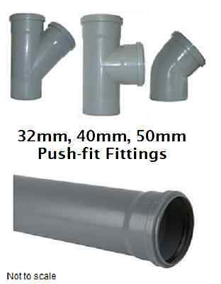Push-fit Waste Fittings - 32 mm / 40 mm / 50 mm - Bends - Branches - Caps - Grey