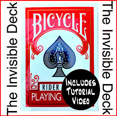 Magic Trick. The Invisible Deck + Video Tutorial. RED. Bicycle Cards. New