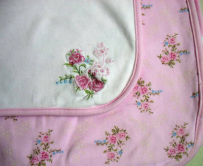 First Impressions Elegant White & Pink Floral Small Baby Blanket