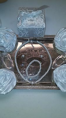 Flower Girl Wedding Kids or Adult White Bridal Pearl 3pc Gift Box Necklace Set