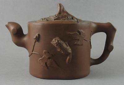 Antique Chinese Yixing Teapot Relief Squirrels Leaves Branches Signed Base & Lid