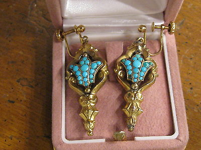 Antique Ghajar 19th century Persian turquoise earring.