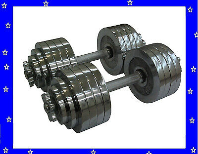 New 2 x 52.5 LBS A Set Adjustable Chrome Plated Dumbbells Total 105 lbs Dumbbell